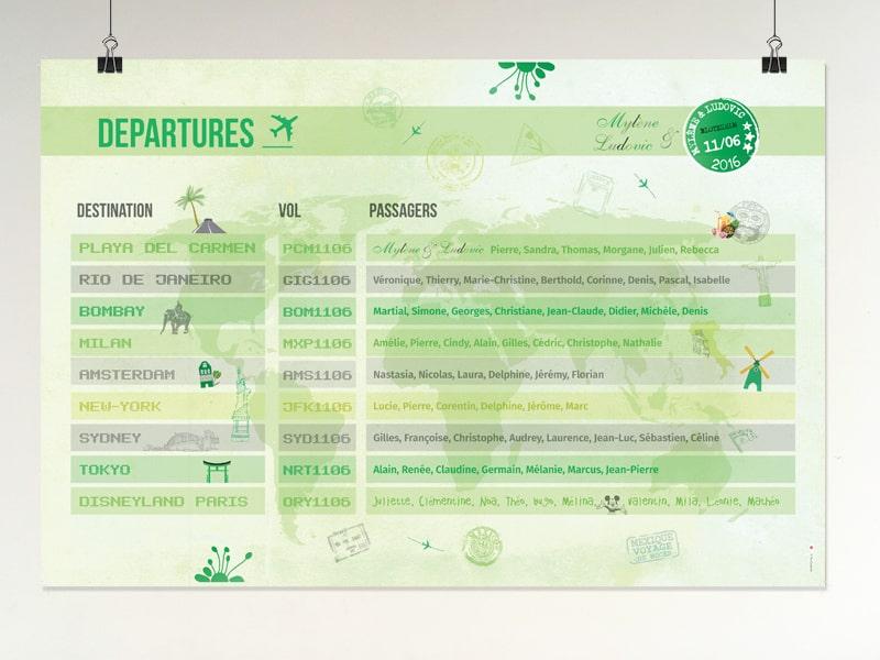 Plan de table panneau affichage aéroport