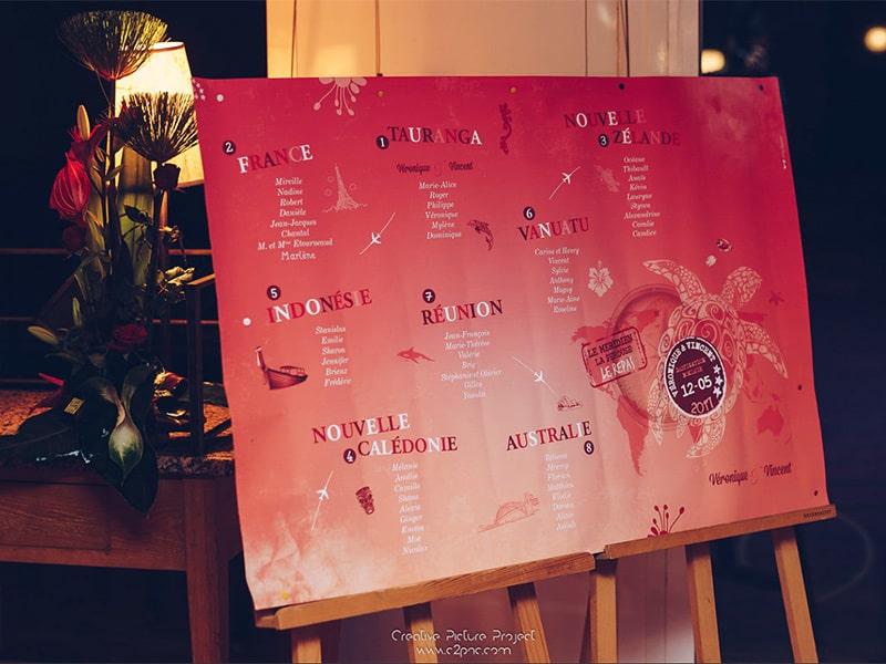 Plan de table mariage rouge passion exotique