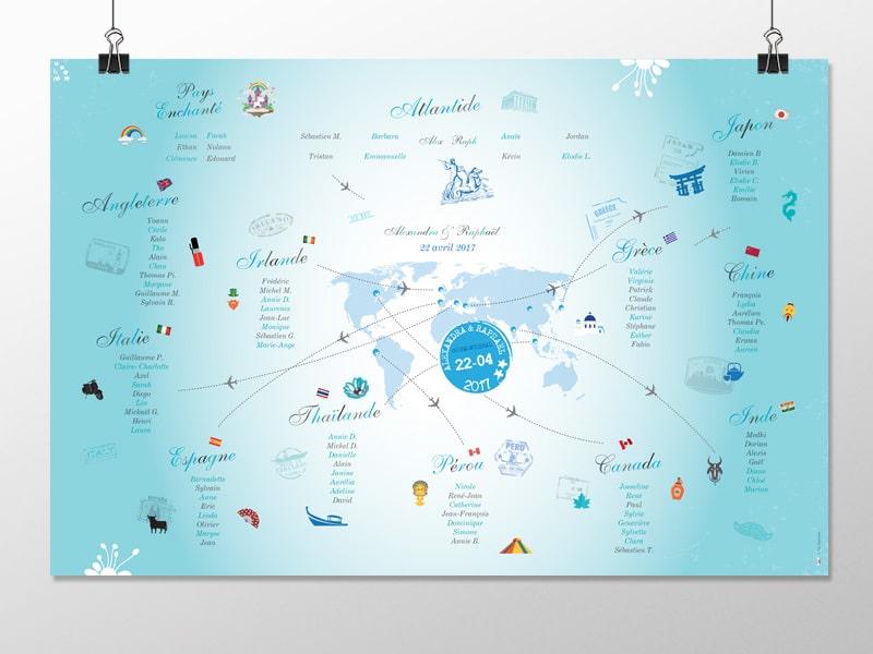 Plan de table mariage pays du monde