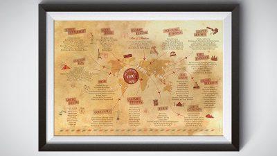 Joli plan de table thème voyage vintage air mail