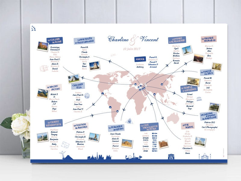 Plan de table mariage voyage merveilles du monde