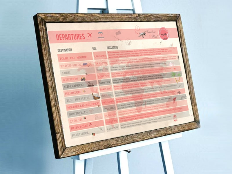 Plan de table mariage panneau d'affichage aéroport