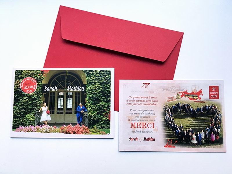 Carte de remerciements mariage texte et photos