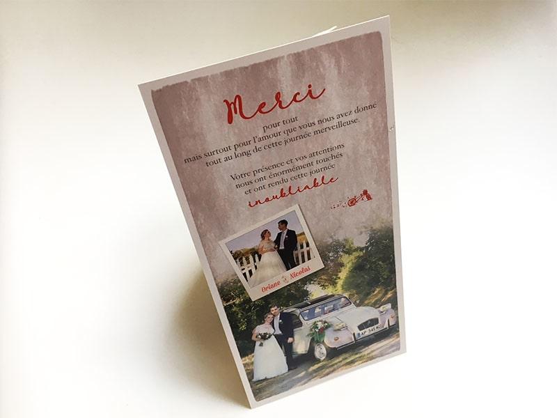 Carte de remerciements de mariage avec photos de la cérémonie