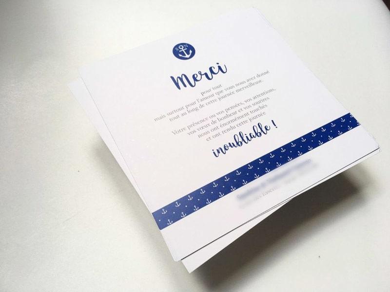 Carte remerciements des invités après un mariage