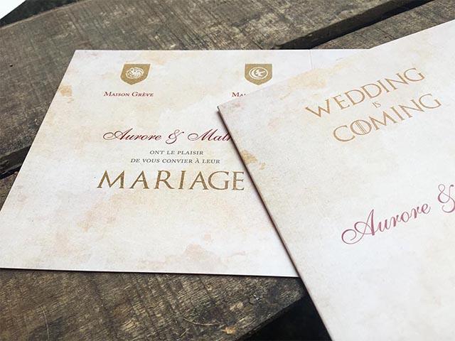 faire part mariage game of thrones carte lieu de mariage westeros