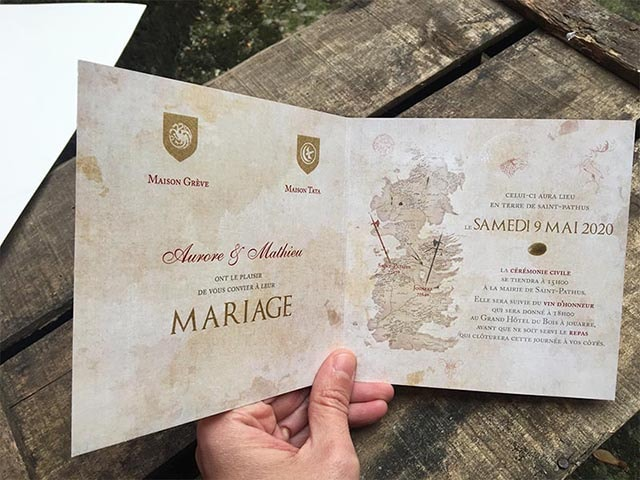 faire part wedding is coming GOT