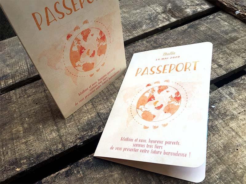 faire part naissance passeport de voyage