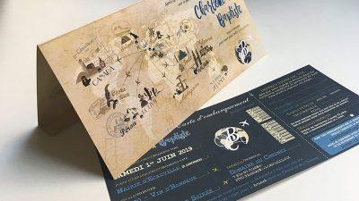 faire-part mariage thème voyage carte du monde boussole